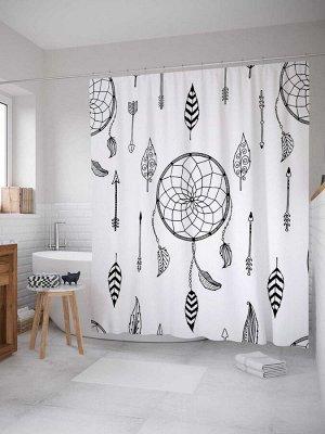 Штора (занавеска) для ванной «Стрелы и ловцы снов» из ткани, 180х200 см с крючками
