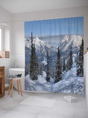 Штора (занавеска) для ванной «Ели на горах» из ткани, 180х200 см с крючками