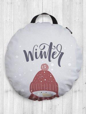 Декоративная подушка сидушка «Зимнее настроение» на пол круглая 52 см