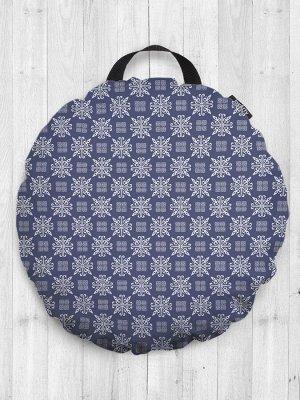 Декоративная подушка сидушка «Красивый снегопад» на пол круглая 52 см