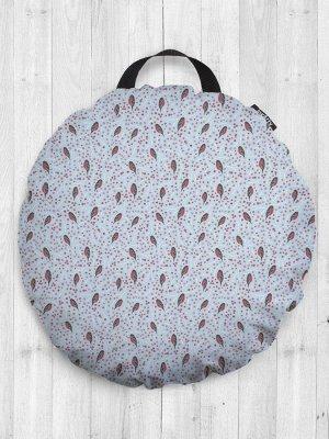 Декоративная подушка сидушка «Снегири пригрелись на ветке» на пол круглая 52 см