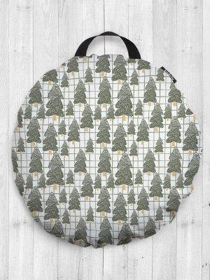 Декоративная подушка сидушка «Лес с елками зимой» на пол круглая 52 см