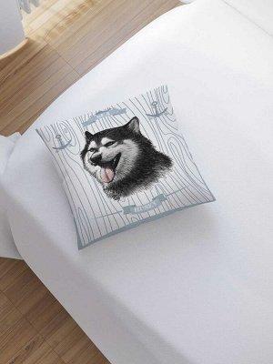 Наволочка декоративная «Собака и якоря» на молнии, 45x45 см