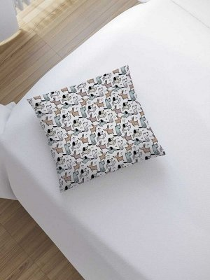 Наволочка декоративная «Собаки на белом» на молнии, 45x45 см