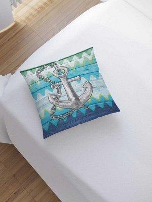Наволочка декоративная «Якорь на зигзагах» на молнии, 45x45 см