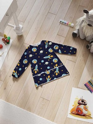 Фартук-накидка с рукавами для детского творчества «Котик в космосе»