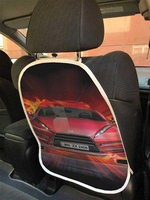Универсальный чехол-накидка на автокресло «Спортивная машина в огне»