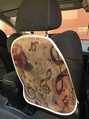 Универсальный чехол-накидка на автокресло «Скрипичный ключ и роза»
