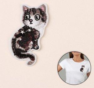 Термоаппликация «Кошка», 9,7*4,5см, цвет серый