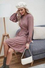 Платье Тилли №1.Цвет:кофейный/горох
