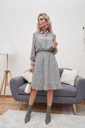Платье Аймен №1.Цвет:серый/цветы