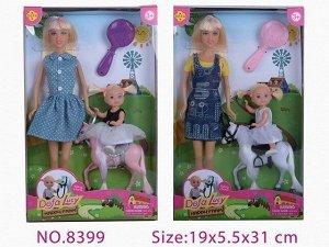Кукла 8399 Прогулка на пони с аксесс. Defa Lusy