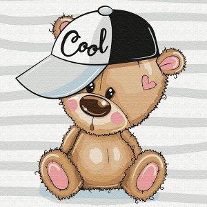 Набор ДТ Картина по номерам Медвежонок в кепке 20*20см KH0842