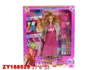 Кукла 68-50ВАЕ беременная с платьями в кор.