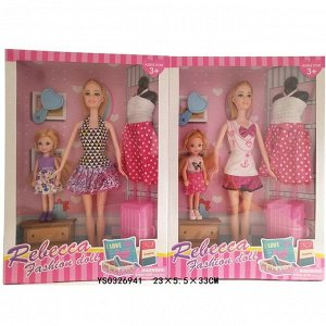 Кукла 8807D Rebecca с дочкой и аксесс. в кор.