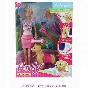 Кукла 99123 Anlily с питомцем и аксесс., в кор.