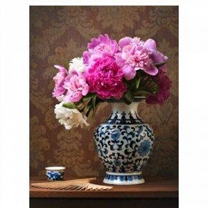 Набор ДТ Роспись по холсту Пионы в красивой вазе 30*40см Х-1777