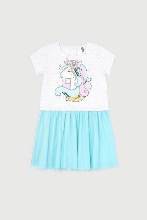 Платье(Весна-Лето)+girls (св.серый меланж, мятная конфета)