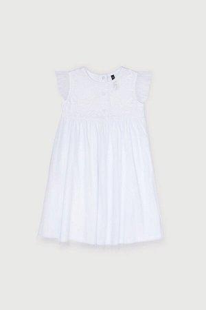 Платье Цвет: белый; Вид изделия: Трикотажные изделия; Полотно: Супрем; Рисунок: белый; Сезон: Весна-Лето Платье из хлопкового трикотажа супрем, отрезная юбка на сборке. Верхний слой юбки из сетки с о