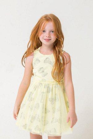 Платье(Весна-Лето)+girls (бледно-лимонный, бабочки)