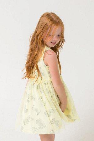 Платье Цвет: бледно-лимонный, бабочки; Вид изделия: Трикотажные изделия; Полотно: Супрем; Рисунок: бледно-лимонный, бабочки; Сезон: Весна-Лето Платье из набивного супрема, отрезная юбка на сборке. Ве