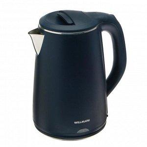 Чайник электрический WILLMARK WEK-2002PS, пластик, колба металл, 2 л, 2000 Вт, синий