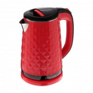 Чайник электрический Centek CT-0022, пластик, колба металл, 1.8 л, 2000 Вт, красный