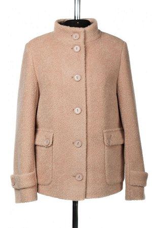 01-10425 Пальто женское демисезонное вареная шерсть пудра