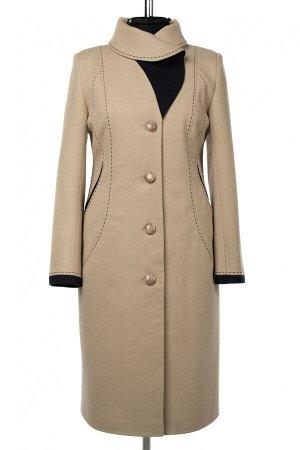 01-10422 Пальто женское демисезонное Пальтовая ткань бежевый