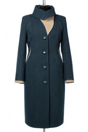 01-10421 Пальто женское демисезонное Пальтовая ткань морская волна