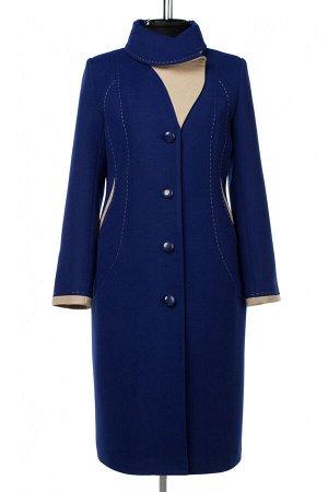 01-10420 Пальто женское демисезонное Пальтовая ткань синий