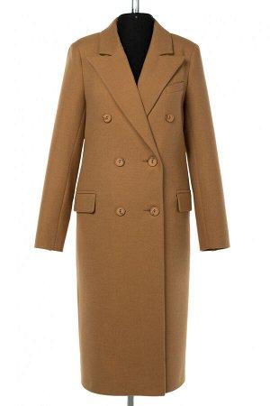 01-10414 Пальто женское демисезонное Пальтовая ткань Кэмел