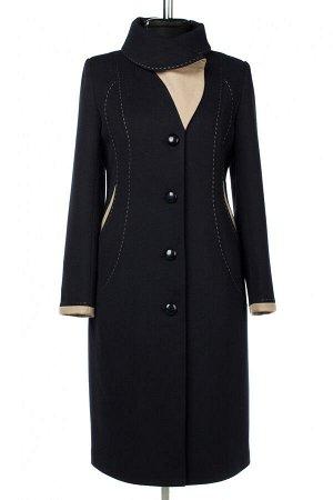 01-10413 Пальто женское демисезонное Пальтовая ткань темно-синий