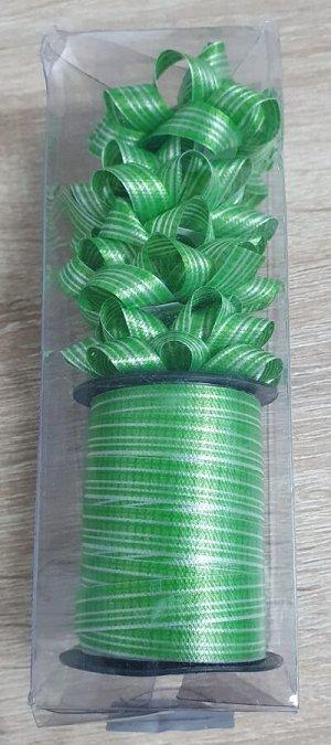 Лента упаковочная с мини-бантиками (4шт) зеленый с сердцами