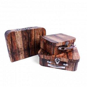 Набор коробок 3в1 чемодан 30,2х21,8х9,5 / 18,2х19,8х8,5 / 16,2х17,8х7,5см, Дерево