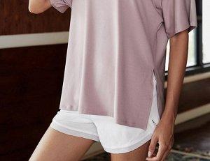 Женская спортивная футболка, сетчатые вставки/разрезы, цвет белый