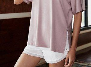 Женская спортивная футболка, сетчатые вставки/разрезы, цвет оливковый