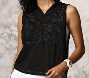 """Женская спортивная сетчатая майка с капюшоном, надпись """"get fit"""", цвет черный"""