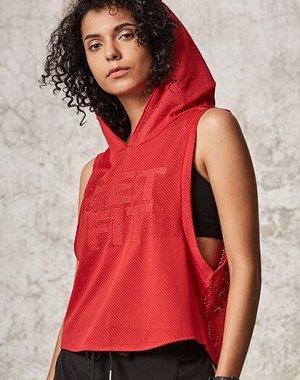 """Женская спортивная сетчатая майка с капюшоном, надпись """"get fit"""", цвет красный"""