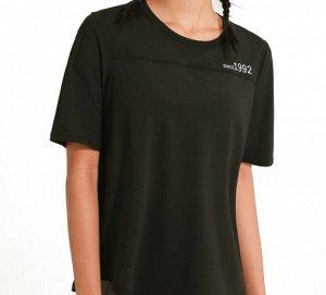 """Женская спортивная футболка, надпись """"since1992"""", цвет черный"""