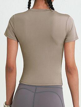 """Женская спортивная футболка, надпись""""onetwopunch"""", цвет кофе с молоком"""