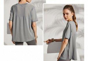 Женская спортивная футболка, сетчатые вставки/разрез, цвет серый