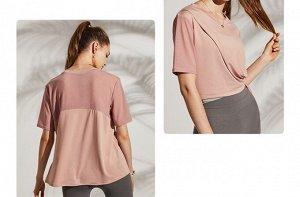 Женская спортивная футболка, сетчатые вставки/разрез, цвет персик