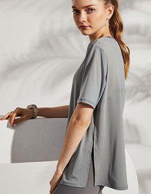Женская спортивная футболка, сетчатые вставки/разрез, цвет белый
