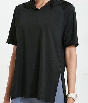 Женская спортивная футболка с капюшоном/разрезами, цвет черный