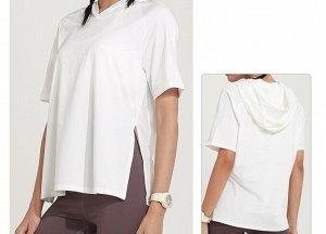 Женская спортивная футболка с капюшоном/разрезами, цвет белый