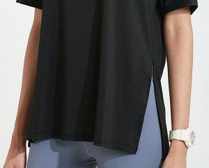 Женская спортивная футболка с капюшоном/разрезами, цвет розовый