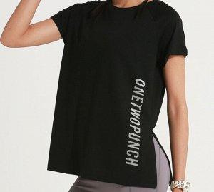 """Женская спортивная футболка с разрезом, надпись""""onetwopunch"""", цвет черный"""