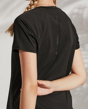 """Женская спортивная футболка, надпись""""onetwopunch"""", цвет черный"""