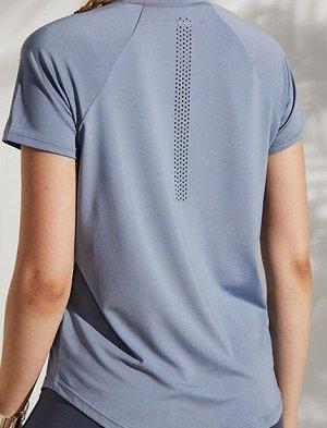 """Женская спортивная футболка, надпись""""onetwopunch"""", цвет голубой"""